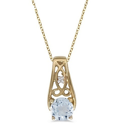 Antique Style Aquamarine and Diamond Pendant Necklace 14k Yellow Gold