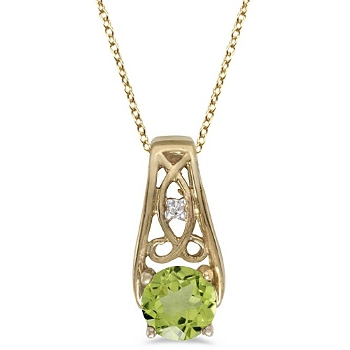Antique Style Peridot and Diamond Pendant Necklace 14k Yellow Gold