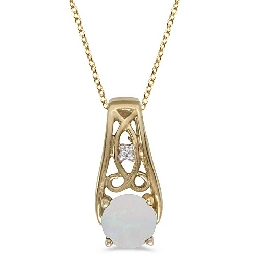 Antique Style Opal and Diamond Pendant Necklace 14k Yellow Gold