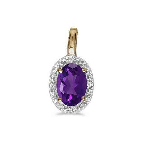 Oval Amethyst & Diamond Pendant Necklace 14k Yellow Gold (0.45ctw)