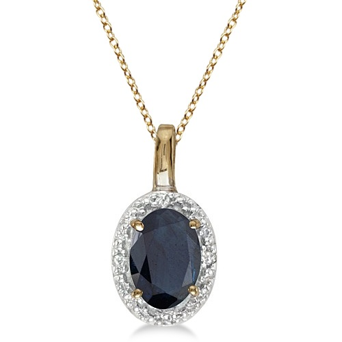 Oval Blue Sapphire & Diamond Pendant Necklace 14k Yellow Gold (0.55ct)