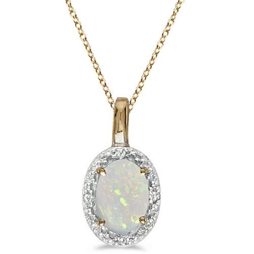 Halo Oval Opal & Diamond Pendant Necklace 14k Yellow Gold (0.55ctw)