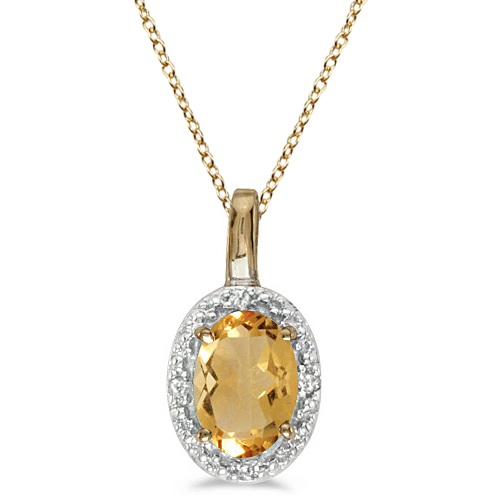 Oval Citrine & Diamond Pendant Necklace 14k Yellow Gold (0.47tcw)