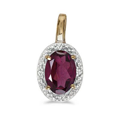 Halo Oval Garnet & Diamond Pendant Necklace 14k Yellow Gold (0.55ctw)