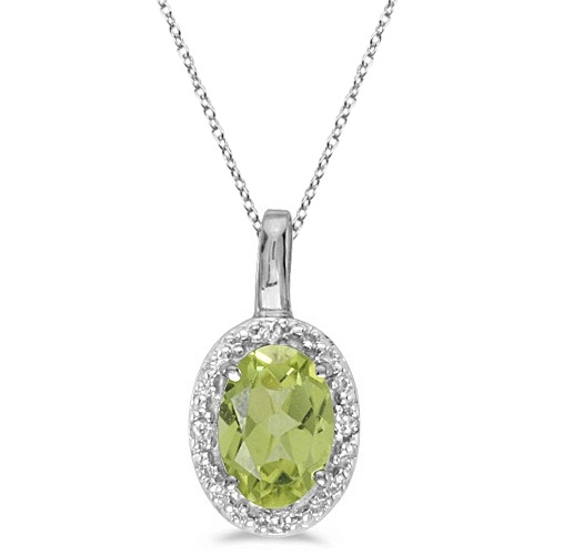 Oval Peridot & Diamond Pendant Necklace 14k White Gold (0.55ctw)