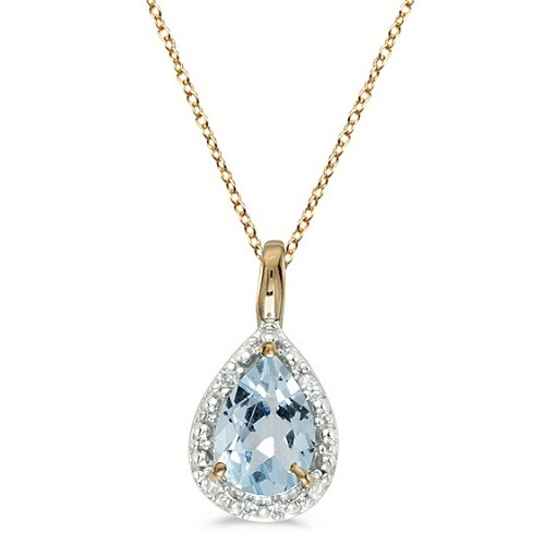 Pear Shaped Aquamarine Pendant Necklace 14k Yellow Gold (0.60ct)