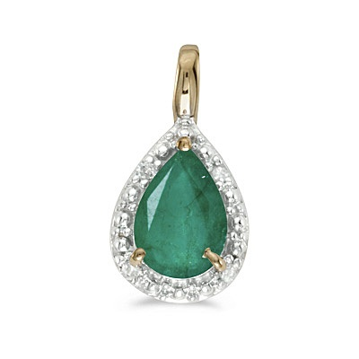 Pear Shaped Emerald Pendant Necklace 14k Yellow Gold (0.70ct)