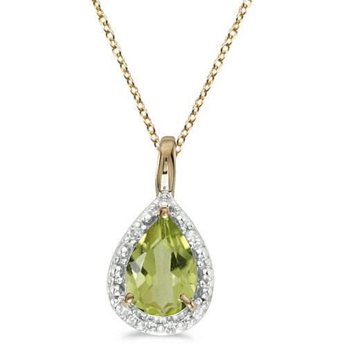 Pear Shaped Peridot Pendant Necklace 14k Yellow Gold (0.85ct)