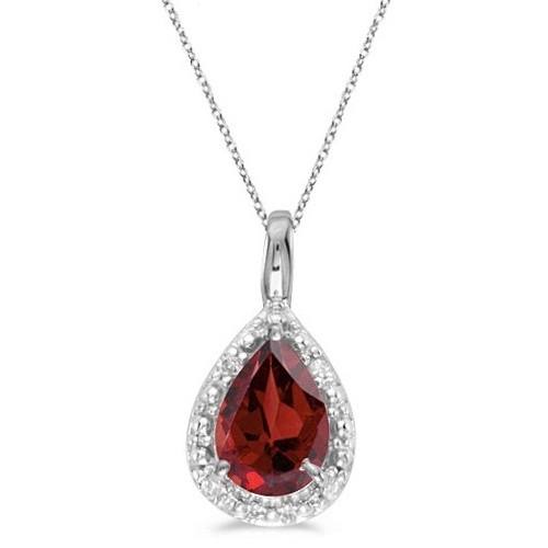 Pear Shaped Garnet Pendant Necklace 14k White Gold (0.85ct)