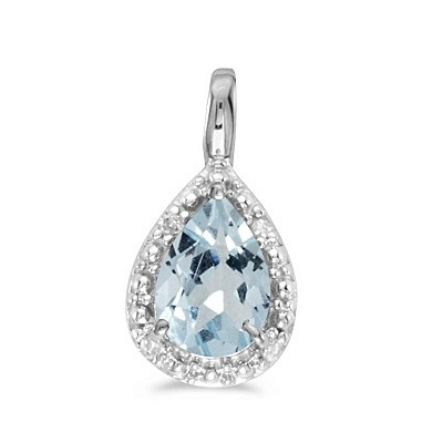 Pear Shaped Aquamarine Pendant Necklace 14k White Gold (0.60ct)