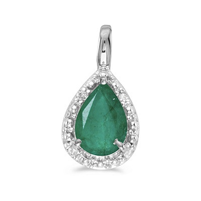 Pear Shaped Emerald Pendant Necklace 14k White Gold (0.70ct)