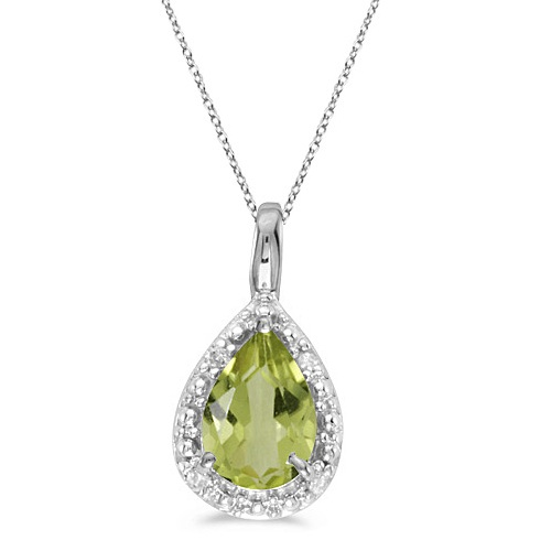 Pear Shaped Peridot Pendant Necklace 14k White Gold (0.85ct)