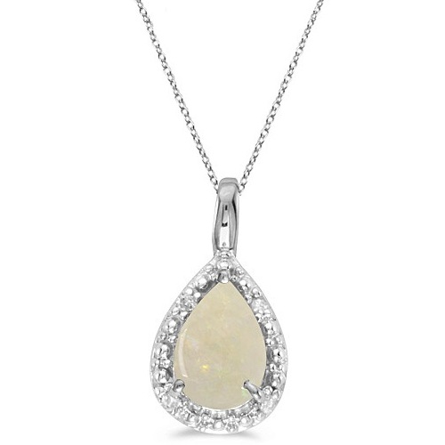 Pear Shaped Opal Pendant Necklace 14k White Gold (0.85ct)