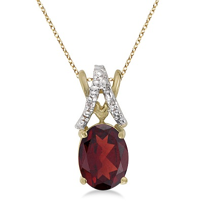 Garnet & Diamond Solitaire Pendant 14k Yellow Gold (1.40tcw)