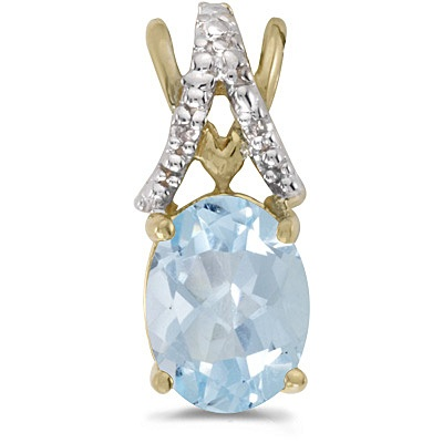 Aquamarine & Diamond Solitaire Pendant 14k Yellow Gold (1.10tcw)