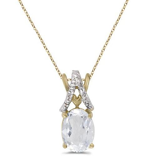 White Topaz & Diamond Solitaire Pendant 14k Yellow Gold (1.50tcw)