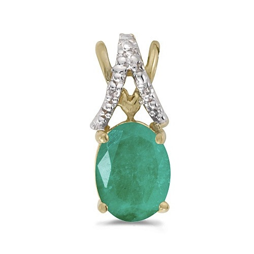 Emerald & Diamond Solitaire Pendant 14k Yellow Gold (1.10tcw)