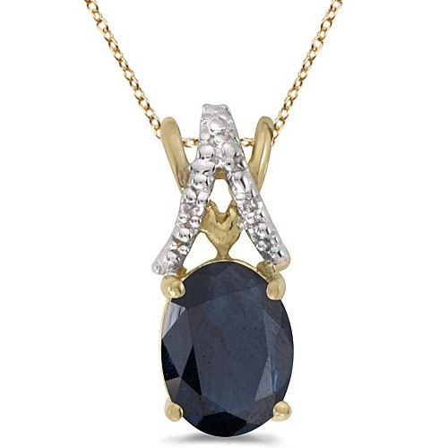 Blue Sapphire & Diamond Solitaire Pendant 14k Yellow Gold (1.40tcw)