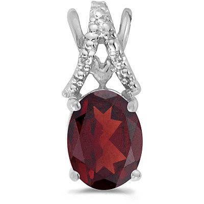 Garnet & Diamond Solitaire Pendant 14k White Gold (1.40tcw)
