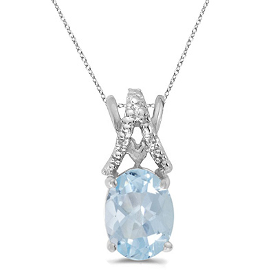 Aquamarine & Diamond Solitaire Pendant 14k White Gold (1.10tcw)