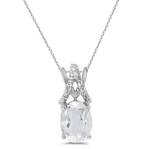 White Topaz & Diamond Solitaire Pendant 14k White Gold (1.50tcw)