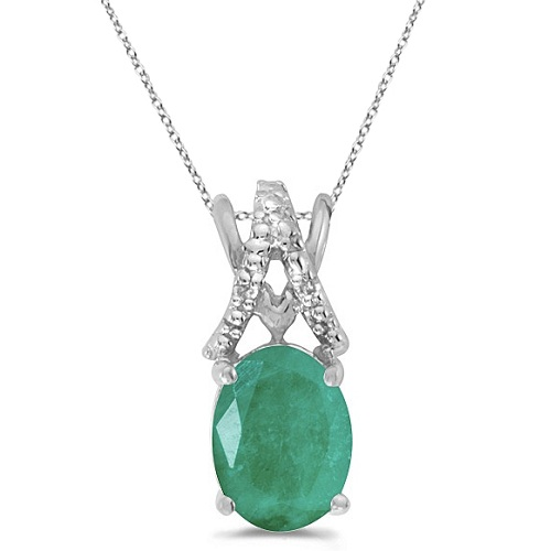Emerald & Diamond Solitaire Pendant 14k White Gold (1.10tcw)