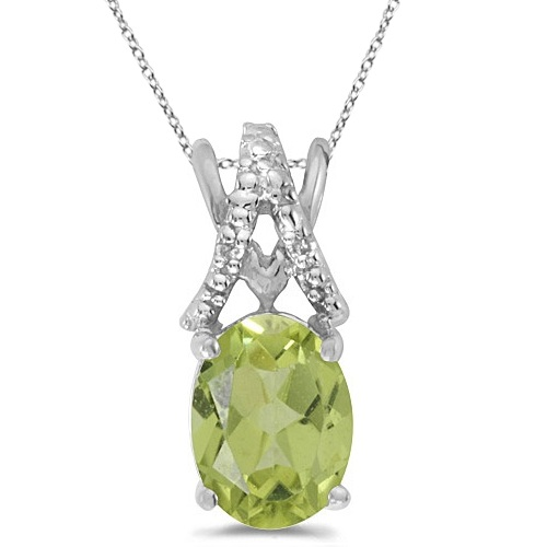 Peridot & Diamond Solitaire Pendant 14k White Gold (1.40tcw)