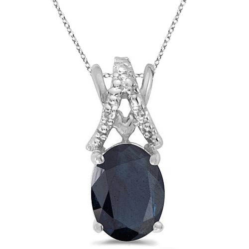 Blue Sapphire & Diamond Solitaire Pendant 14k White Gold (1.40tcw)