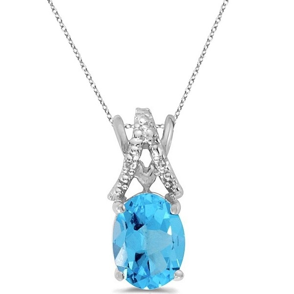 Blue Topaz & Diamond Solitaire Pendant 14k White Gold (1.60tcw)