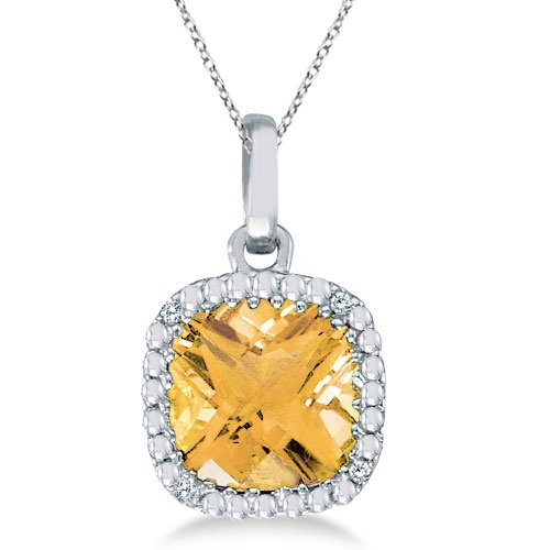 Cushion-Cut Citrine and Diamond Pendant 14K White Gold (7mm)