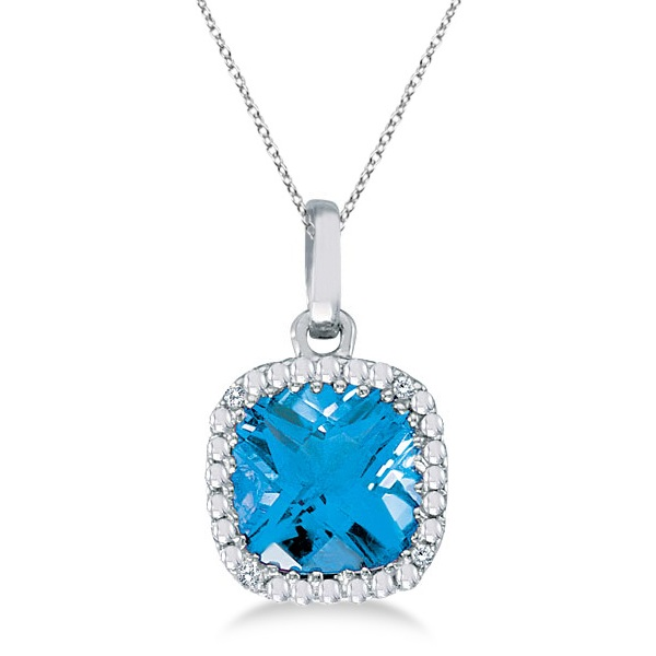 Cushion-Cut Blue Topaz & Diamond Pendant Necklace 14K White Gold (7mm)