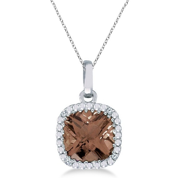 Cushion-Cut Smoky Topaz & Diamond Pendant Necklace 14K White Gold (7mm)