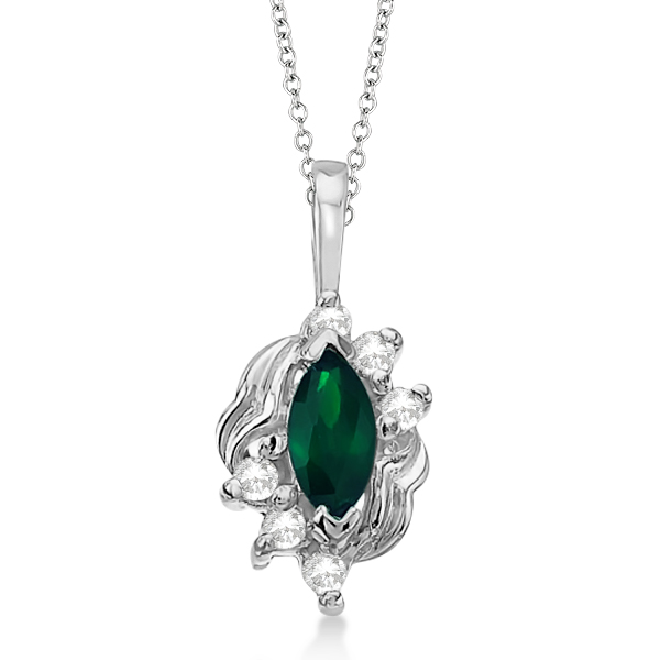 Marquise Emerald & Diamond Pendant Necklace in 14K White Gold (0.34ct)