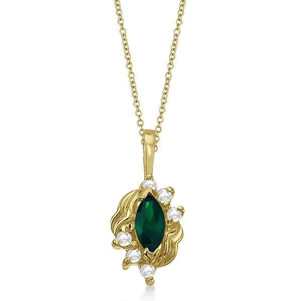 Marquise Emerald & Diamond Pendant in 14K Yellow Gold (0.34ct)