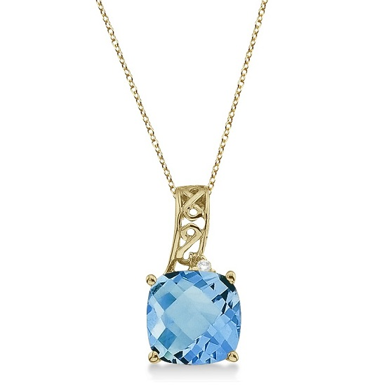 Blue Topaz & Diamond Vintage Style Pendant 14k Yellow Gold (3.00ct)
