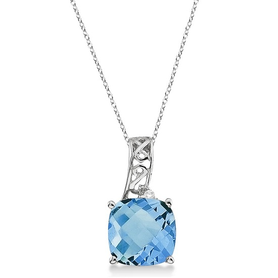 Blue Topaz & Diamond Vintage Style Pendant 14k White Gold (3.00ct)