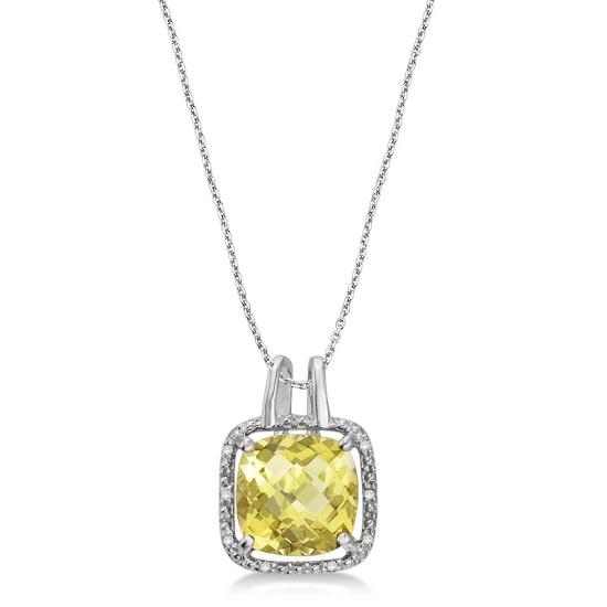 Lemon Quartz & Diamond Rope Pendant Necklace 14k White Gold (6.05ct)