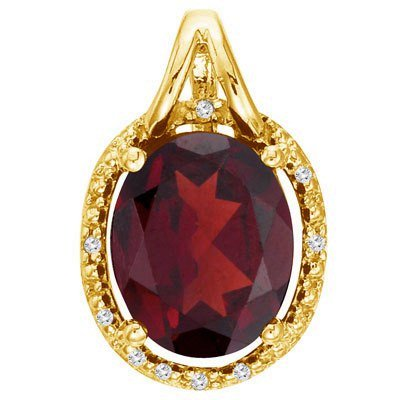 Oval Garnet and Diamond Pendant Necklace 14k Yellow Gold (3.00ct)