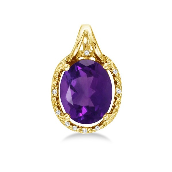 Oval Amethyst and Diamond Pendant Necklace 14k Yellow Gold (3.00ct)