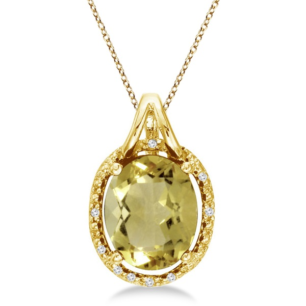 Oval Lemon Quartz & Diamond Pendant Necklace 14k Yellow Gold (3.00ct)