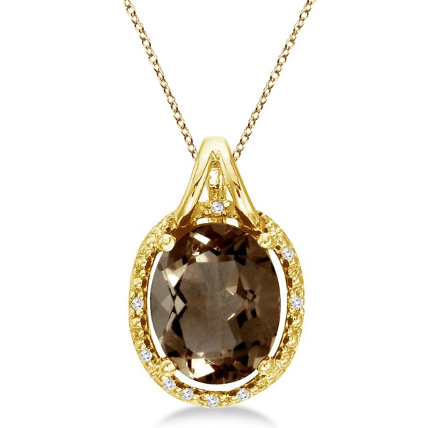 Oval Smoky Topaz & Diamond Pendant Necklace 14k Yellow Gold (3.00ct)