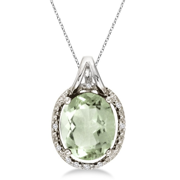 Oval Green Amethyst & Diamond Pendant Necklace 14k White Gold (3.00ct)