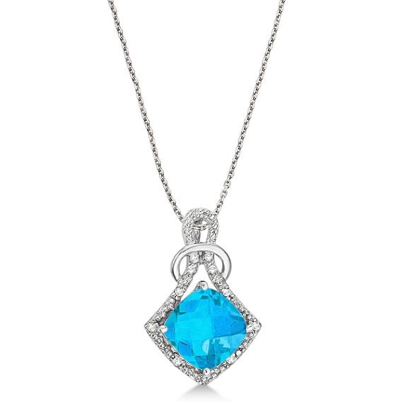 Blue Topaz & Diamond Swirl Pendant Necklace 14k White Gold (4.05ct)