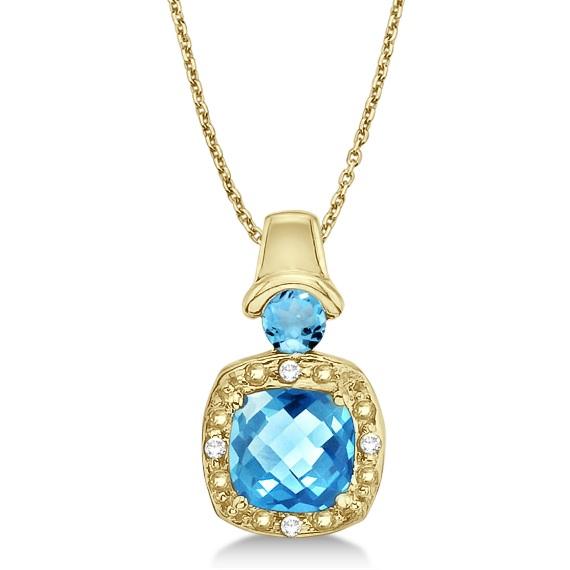 Blue Topaz & Diamond Pendant Necklace 14k Yellow Gold (4.16ct)