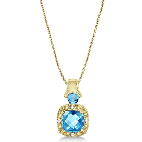 Blue Topaz & Diamond Pendant Necklace 14k Yellow Gold (4.16ct)