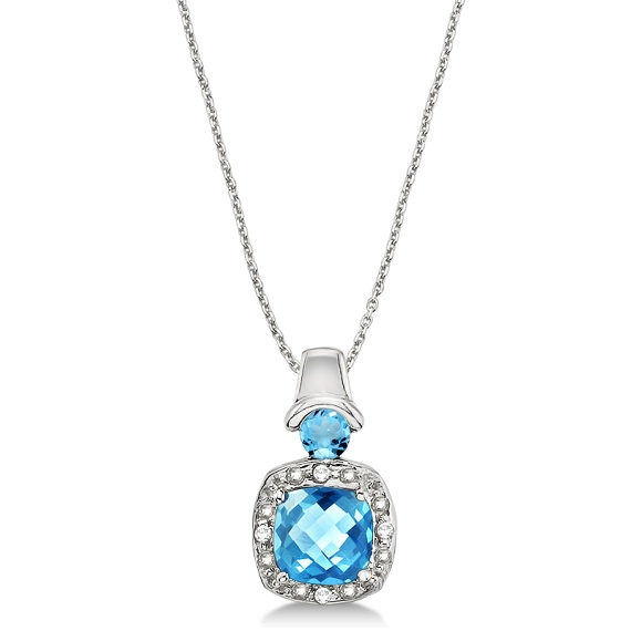 Blue Topaz & Diamond Accented Pendant Necklace 14k White Gold (4.16ct)
