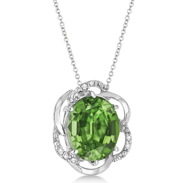 Green Amethyst & Diamond Flower Shaped Pendant 14k White Gold (2.45ct)