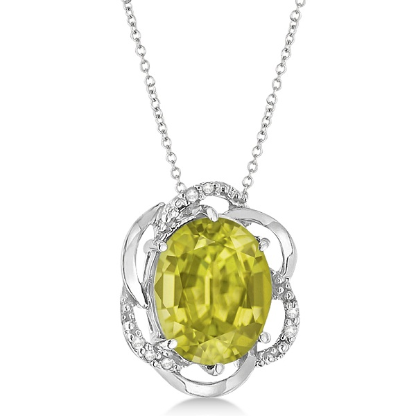 Lemon Quartz & Diamond Flower Shaped Pendant 14k White Gold (2.45ct)
