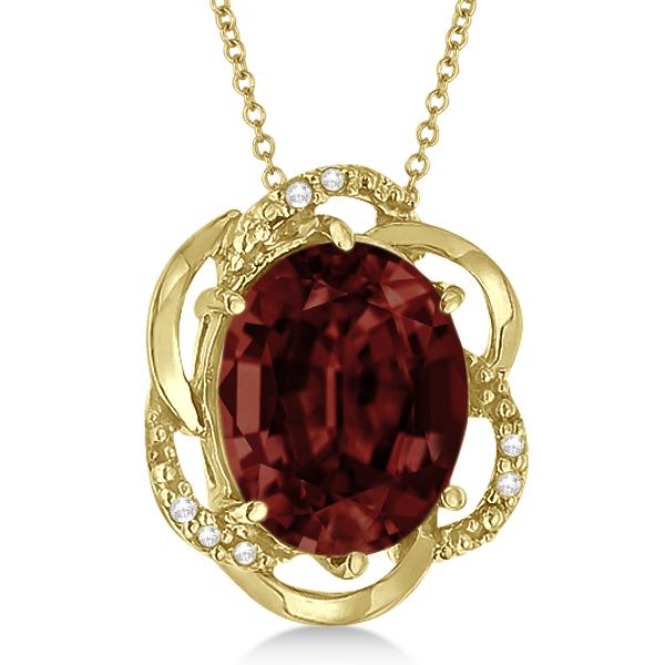 Garnet & Diamond Flower Shaped Pendant 14k Yellow Gold (2.45ct)