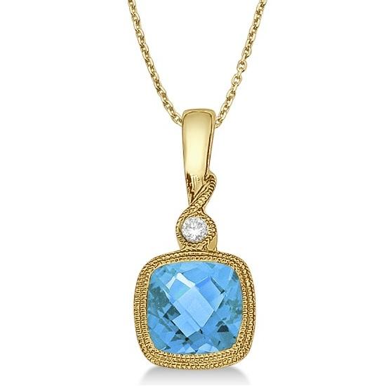 Blue Topaz & Diamond Vintage Pendant Necklace 14k Yellow Gold (0.93ct)